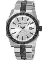 Roberto Cavalli - Rv1g018m0086 Silver-tone & Black Watch - Lyst