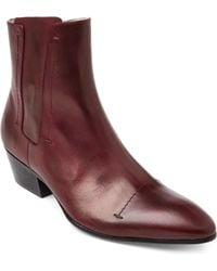 Rochas - Plum Leather Western Ankle Boots - Lyst