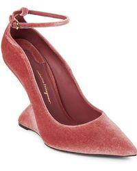 Ferragamo - Pink Tivoli Velvet Sculpted-heel Pumps - Lyst