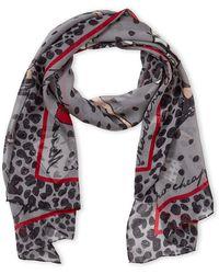 Boutique Moschino - Grey Fashion Print Silk Scarf - Lyst