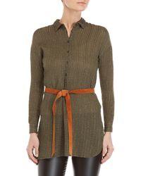 GAUDI - Olive Belted Lurex Stripe Tunic Shirt - Lyst