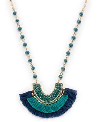 pannee by panacea - Half-moon Pendant Beaded Necklace - Lyst