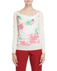 Leonard - Printed Silk Front Sweater - Lyst