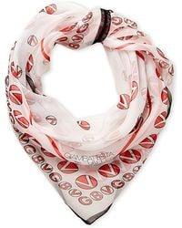 Giambattista Valli - White & Pink Silk Printed Scarf - Lyst