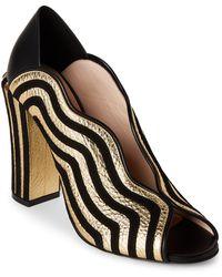 Fendi - Black & Gold Wavy Stripe Leather Peep-toe Pumps - Lyst