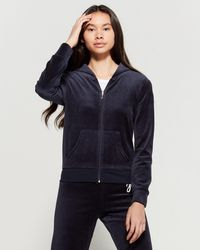 5a16ed0b Juicy Couture Embellished Starburst Velour Hoodie in Blue - Lyst