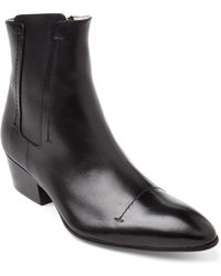 Rochas - Black Leather Western Ankle Boots - Lyst