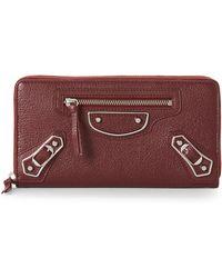 Balenciaga - Burgundy Metallic Edge Leather Zip Wallet - Lyst