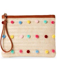 Imoshion | Natural & Cognac Pom-Pom Straw Pouch | Lyst
