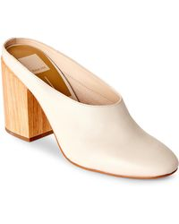 Dolce Vita - Ivory Caley Leather Block Heel Mules - Lyst