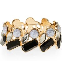 Catherine Stein - Gold-Tone & Black Stretch Bracelet - Lyst