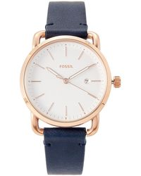 Fossil - Es4334 Navy & Rose Gold-tone Watch - Lyst