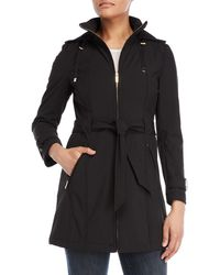 Karl Lagerfeld - Belted Softshell Hooded Coat - Lyst