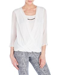 Sioni - Mock Layered Faux Wrap Top - Lyst