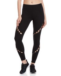 Andrew Marc - Black Laced Cutout Leggings - Lyst
