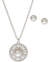 Ak Anne Klein - Silver-Tone Faux Pearl-Accented Necklace & Earrings Set - Lyst