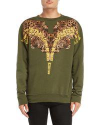 Marcelo Burlon - Green Graphic Crew Neck Fleece Sweatshirt - Lyst