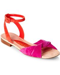 B Brian Atwood - Pink & Orange Maddie Two-Piece Flat Sandals - Lyst