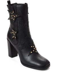 Aperlai - Black Lennon Studs Stars Leather Booties - Lyst