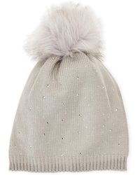 C-lective - Studded Faux Fur Pom-pom Hat - Lyst