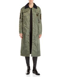 History Repeats - Olive Longline Flight Coat - Lyst