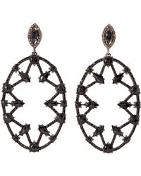 Bavna - Sterling Silver Diamond & Black Spinel Drop Earrings - Lyst