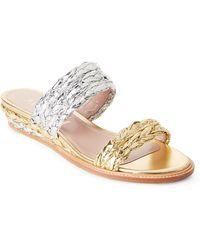 Aperlai - Silver & Gold Metallic Braided Wedge Slide Sandals - Lyst
