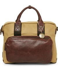Will Leather Goods - Canvas & Leather Lewis Briefcase - Lyst