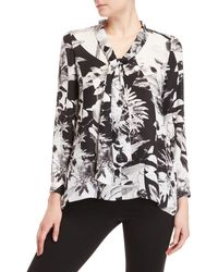 Sioni - Printed Tie Neck Top - Lyst