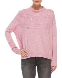 Quinn - Cable Knit Yoke Sweater - Lyst