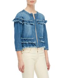 Kensie - Frayed Denim Jacket - Lyst