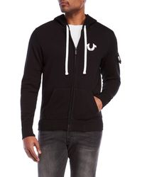 True Religion | Logo Zip-up Fleece Hoodie | Lyst