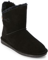 BEARPAW - Black Rosie Button Real Fur Boots - Lyst