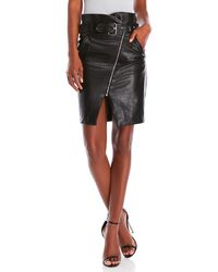 Romeo and Juliet Couture - Belted Faux Leather Moto Skirt - Lyst