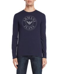 Armani Jeans - Navy Slim Fit Long Sleeve Tee - Lyst