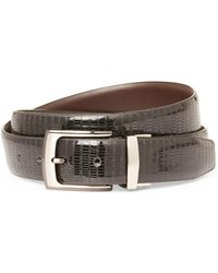 English Laundry - Lizard Embossed Reversible Leather Belt - Lyst