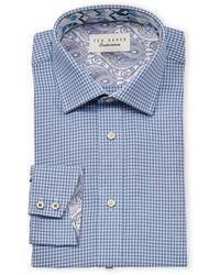 Ted Baker Endurance Houndstooth Long Sleeve Dress Shirt - Blue