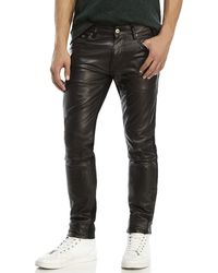 Avelon - Black Popshop Faux Leather Front Jeans - Lyst