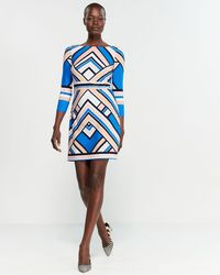 e21bf83423 Vince Camuto - Geometric Print Three-quarter Sleeve Bodycon Dress - Lyst