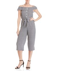 Almost Famous - Gingham Button Off-the-shoulder Jumpsuit - Lyst