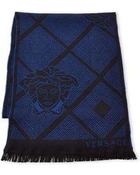 Versace - Greek Key Wool Scarf - Lyst