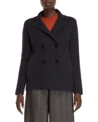 Roberto Collina - Navy Double-breasted Coat - Lyst