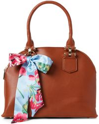Imoshion - Cognac Scarf-accented Dome Vegan Satchel - Lyst