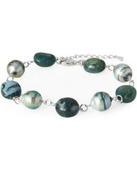 Tara Pearls - Tahitian Cultured Pearl & Black Onyx Beaded Bracelet - Lyst