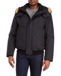 Marc New York - Faux Fur Trim Hooded Coat - Lyst