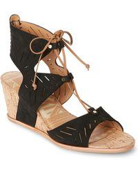 Dolce Vita - Black Langly Cutwork Wedge Sandals - Lyst