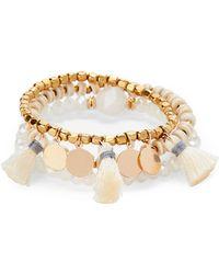 Panacea - Set Of 3 Tasseled Stretch Beaded Bracelet Set - Lyst