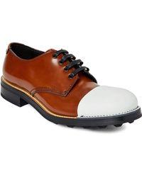 Prada - Cap Toe Leather Oxfords - Lyst