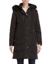 DKNY - Faux Fur Trim Hooded Down Longline Coat - Lyst