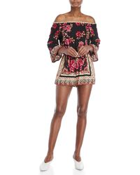 Angie - Printed Off-the-shoulder Romper - Lyst